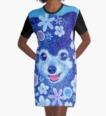 Flower Pomeranian Graphic T-Shirt Dress