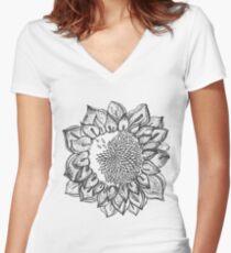 nature floral summer sunflower Women's Fitted V-Neck T-Shirt