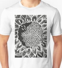 nature floral summer sunflower bw Unisex T-Shirt