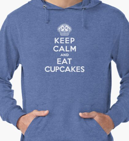 Keep Calm and Eat Cupcakes - white type Lightweight Hoodie
