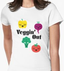 veggin' Out (black type)  Womens Fitted T-Shirt
