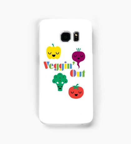 Veggin' Out (colored type) white Samsung Galaxy Case/Skin