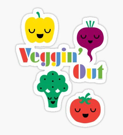 Veggin' Out (colored type) white Sticker