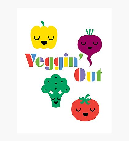 Veggin' Out (colored type) white Photographic Print