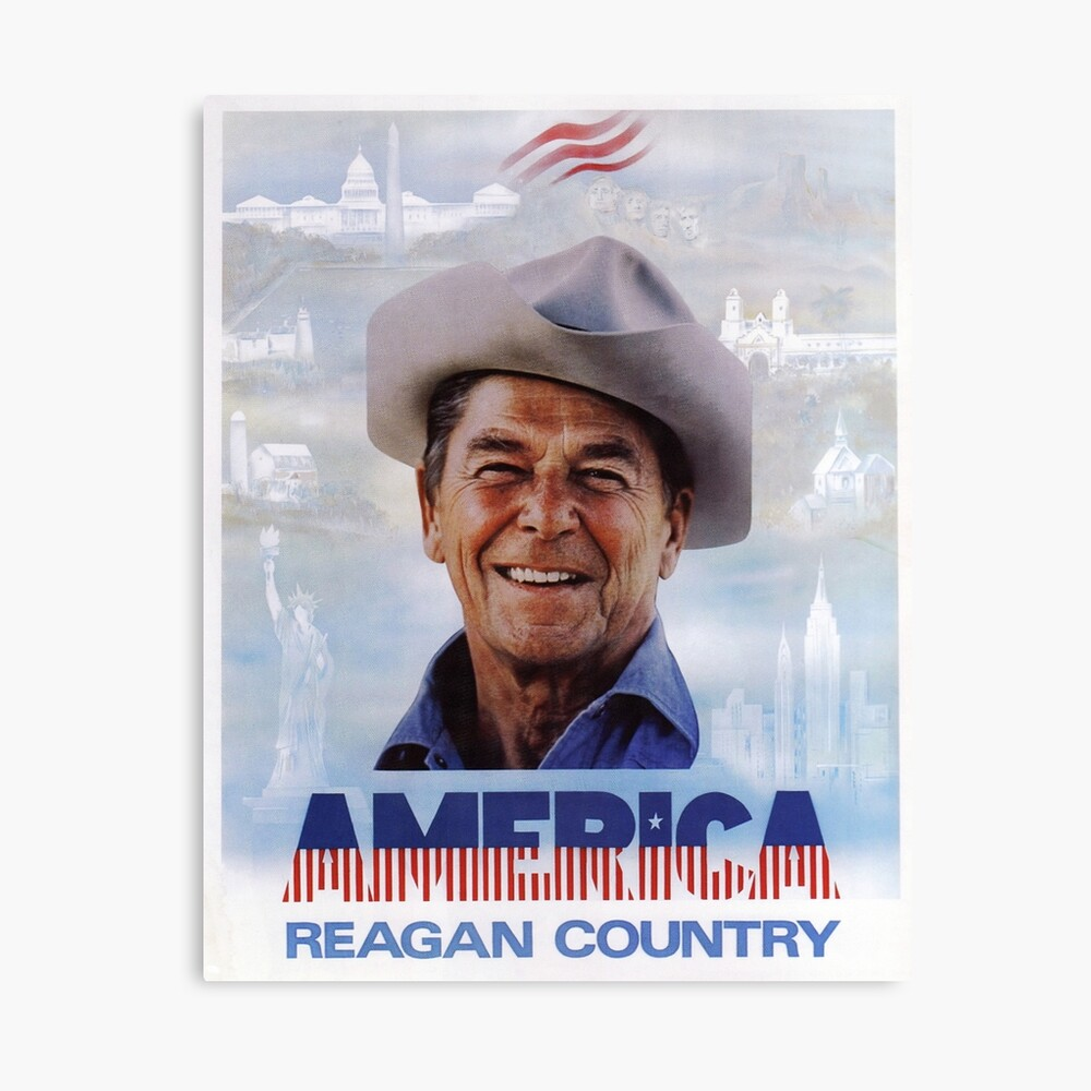 America Reagan Country - Vintage 1980s Campaign Poster Canvas Print