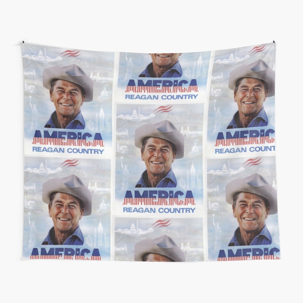 America Reagan Country - Vintage 1980s Campaign Poster Wall Tapestry