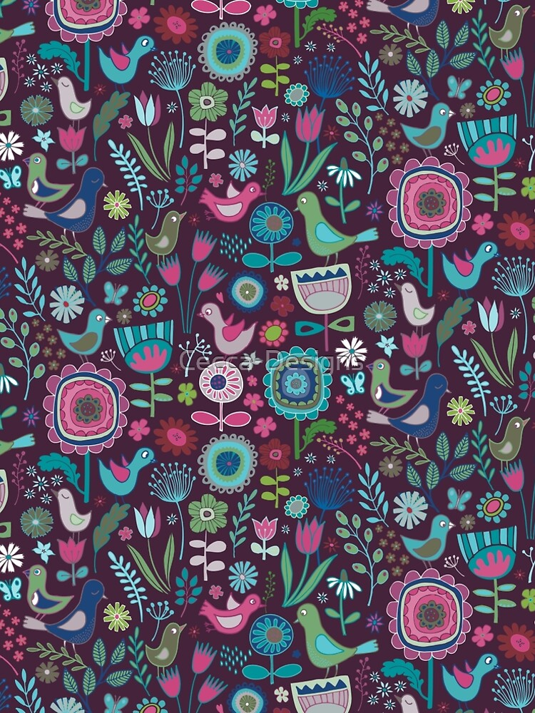 Birds and Blooms - blueberry - pretty floral bird pattern by Cecca Designs by Cecca-Designs
