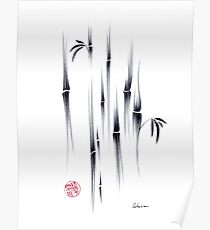 Dreamland - sumie ink brush zen bamboo painting by Rebecca Rees Poster