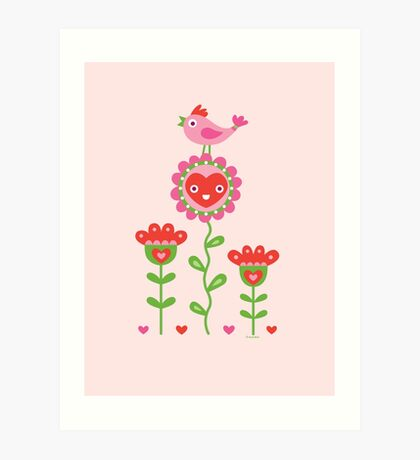 Happy - flower birds and hearts 2 Art Print