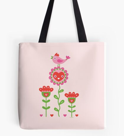 Happy - flower birds and hearts 2 Tote Bag