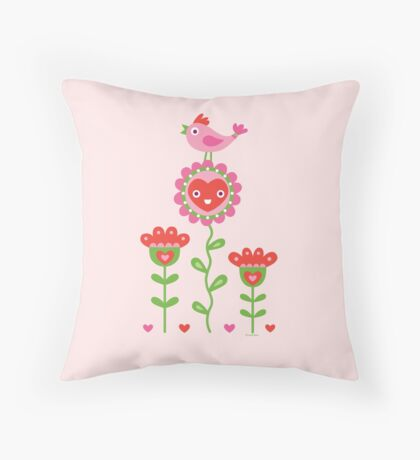 Happy - flower birds and hearts 2 Throw Pillow