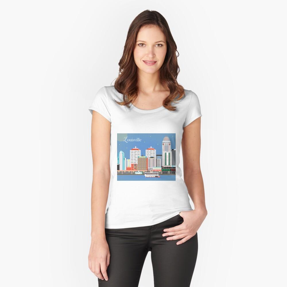 Louisville, Kentucky - Skyline-Illustration durch lose Blumenblätter Tailliertes Rundhals-Shirt