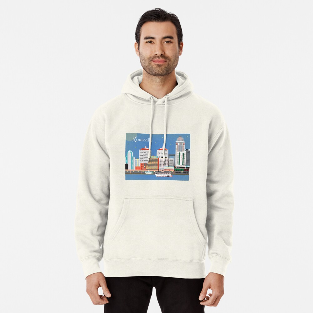 Louisville, Kentucky - Skyline-Illustration durch lose Blumenblätter Hoodie