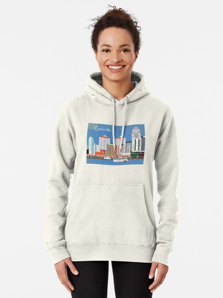 Alternative Ansicht von Louisville, Kentucky - Skyline-Illustration durch lose Blumenblätter Hoodie