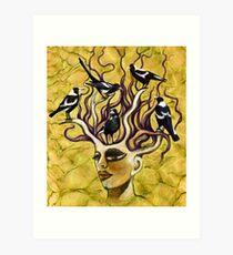 Magpie dreaming Art Print