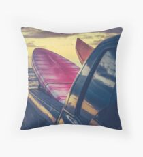 Retro Surf Boards In Truck Throw Pillow