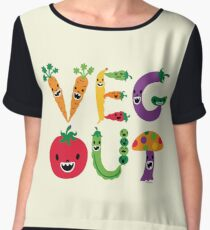 Veg Out - maize Women's Chiffon Top