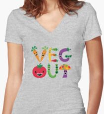 Veg Out - maize Women's Fitted V-Neck T-Shirt
