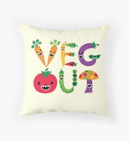 Veg Out - maize Throw Pillow