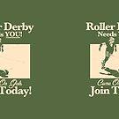 Roller Girl Recruitment Poster (Retro Green) by John Perlock