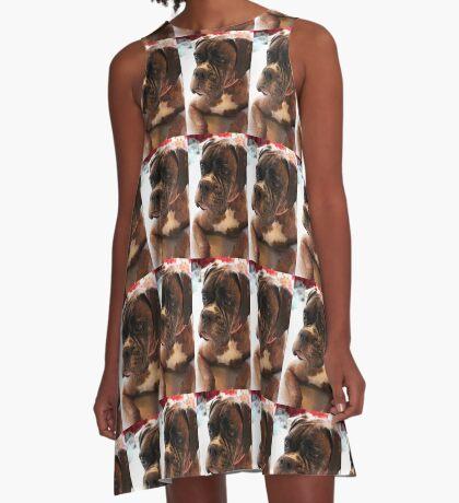 Weihnachtstagesportrait - Boxer-Hunde-Reihe A-Linien Kleid