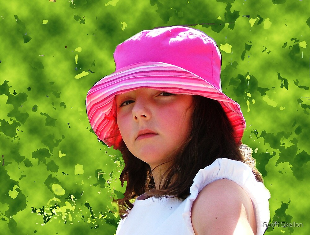 Jade in a pink hat by Geoff Skellon