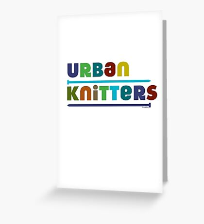 Urban Knitters - blues Greeting Card