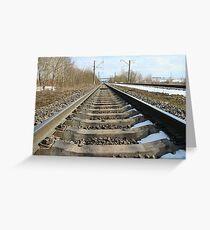 rails of railway forward Greeting Card