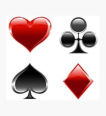 card game symbols heart spade clover diamond Photographic Print
