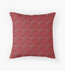 Crimson garden tiles Throw Pillow
