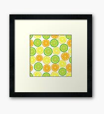 Citrus on White, lemon orange lime pattern Framed Print