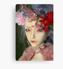 Pink and Green BJD Doll Photo Flowers  Canvas Print