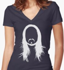 Steve Aoki White Head (For dark shirts) Women's Fitted V-Neck T-Shirt