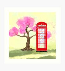 Britain In The Spring - Red Telephone Box & Cherry Blossoms Art Print