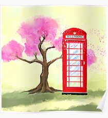 Britain In The Spring - Red Telephone Box & Cherry Blossoms Poster