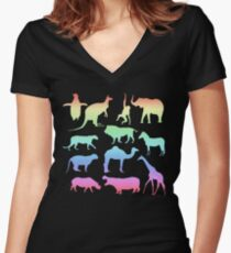 Wild Animals - Neon Women's Fitted V-Neck T-Shirt