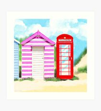 Britain In The Summer - Red Telephone Box & Pink Beach Hut Art Print