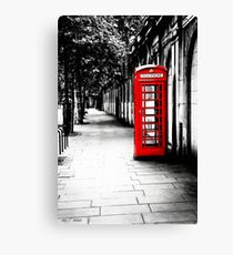 London Calling - London Red Telephone Booth - Classic British Phone Box Canvas Print
