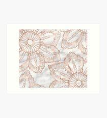 Mandala whimsy - rose gold & marble Art Print