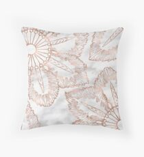 Mandala whimsy - rose gold & marble Throw Pillow