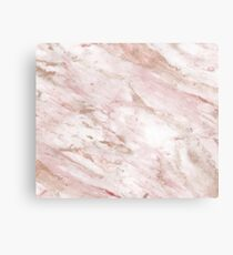 Pink marble - rose gold accents Metal Print