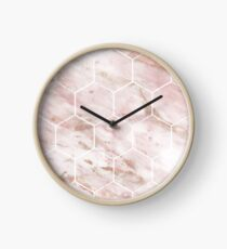 Pink marble with rose gold accents - hexagons Clock