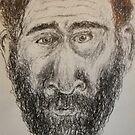 Self-portrait -(210417)- Black biro pen/Sketchpad/White paper by paulramnora