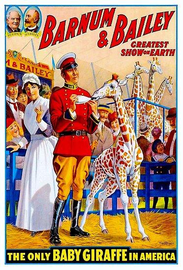 BARNUM & BAILEY: Weinlese-Zirkus-Giraffen-Werbungs-Druck von posterbobs