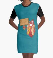 hot dog with wooden blank Graphic T-Shirt Dress