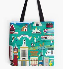 Oakland, California - Collage Illustration by Loose Petals Tote Bag