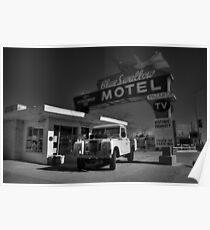 Tucumcari - Blue Swallow Motel 001 BW Poster