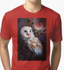 Owl of the Blood Moon Heart Tri-blend T-Shirt
