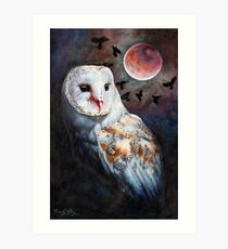 Owl of the Blood Moon Heart Art Print