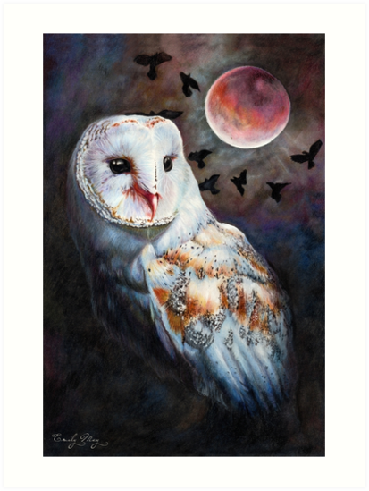 Owl of the Blood Moon Heart by Emily May  Studio Arts